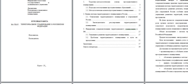 МЭБИК курсовая территориальное планирование в РФ
