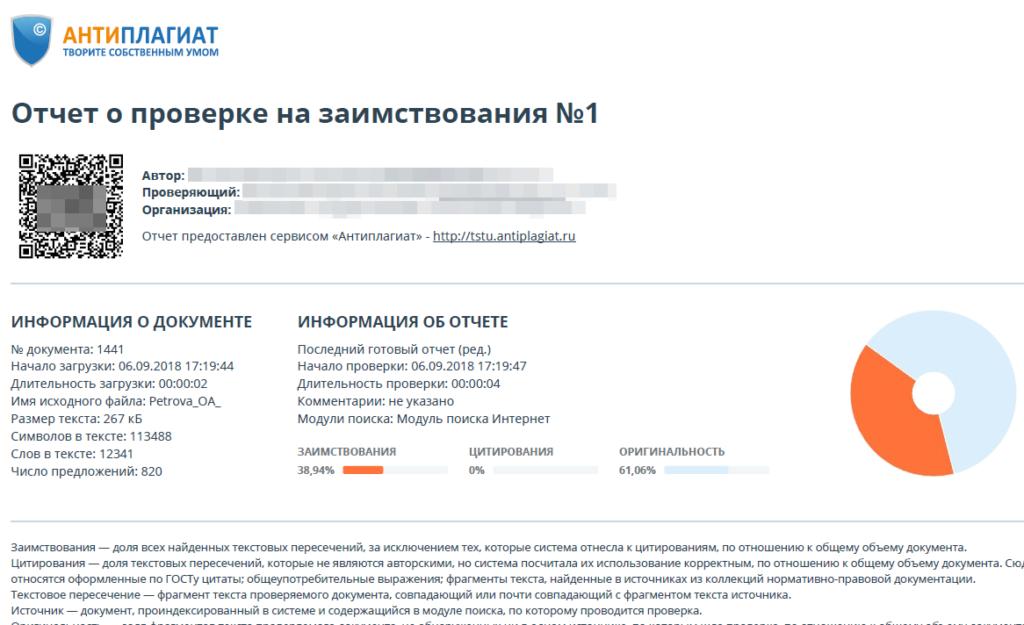 Антиплагиат отчет о проверке