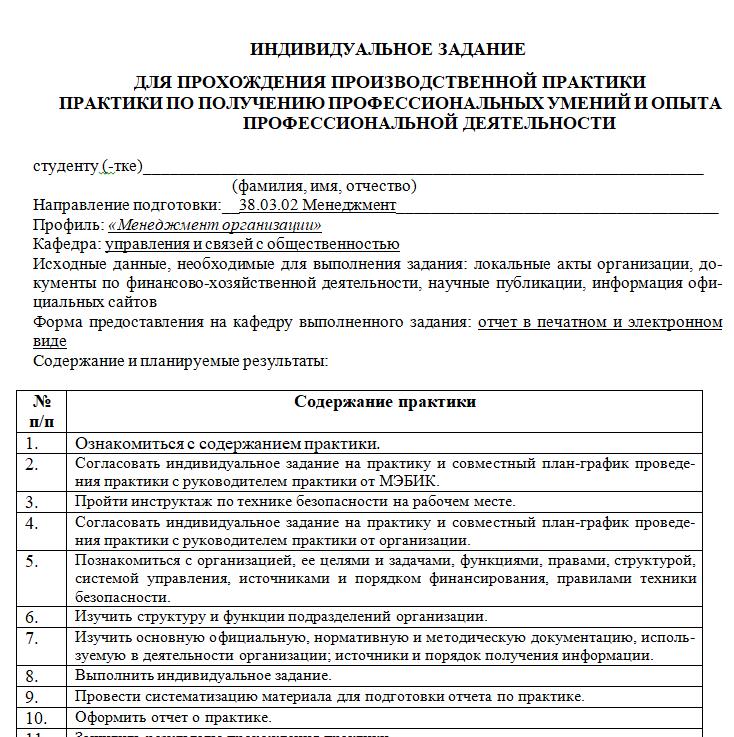 МЭБИК Отчет по практике 38.03.02 Менеджмент (Профиль «Менеджмент организации»)